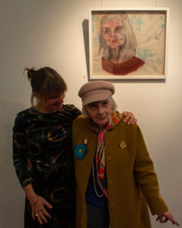No Repro Fee: Cork County Council Host an exhibition 'Memory is Grey' in Library HQ by artist Gillian Cussen which explores memory loss. Gillian is pictured here with her mother Jan Cussen, the subject of one of her works.