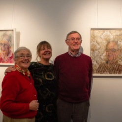 No Repro Fee: Cork County Council Host an exhibition 'Memory is Grey' in Library HQ by artist Gillian Cussen which explores memory loss. Pictured in front of his portrait is Hugo Van Der Zwan with his partner Valerie, Innishannon